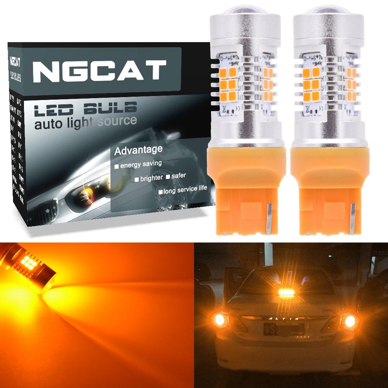 NGCAT 7440 7440NA Led Bulb Auto LED Bulb 2PCS 7441 992 T20 2835 21 SMD Chipsets LED Bulbs with Lens Projector Brake Turn Signal Tail Backup Reverse Lights, Amber 10-16V 10.5W