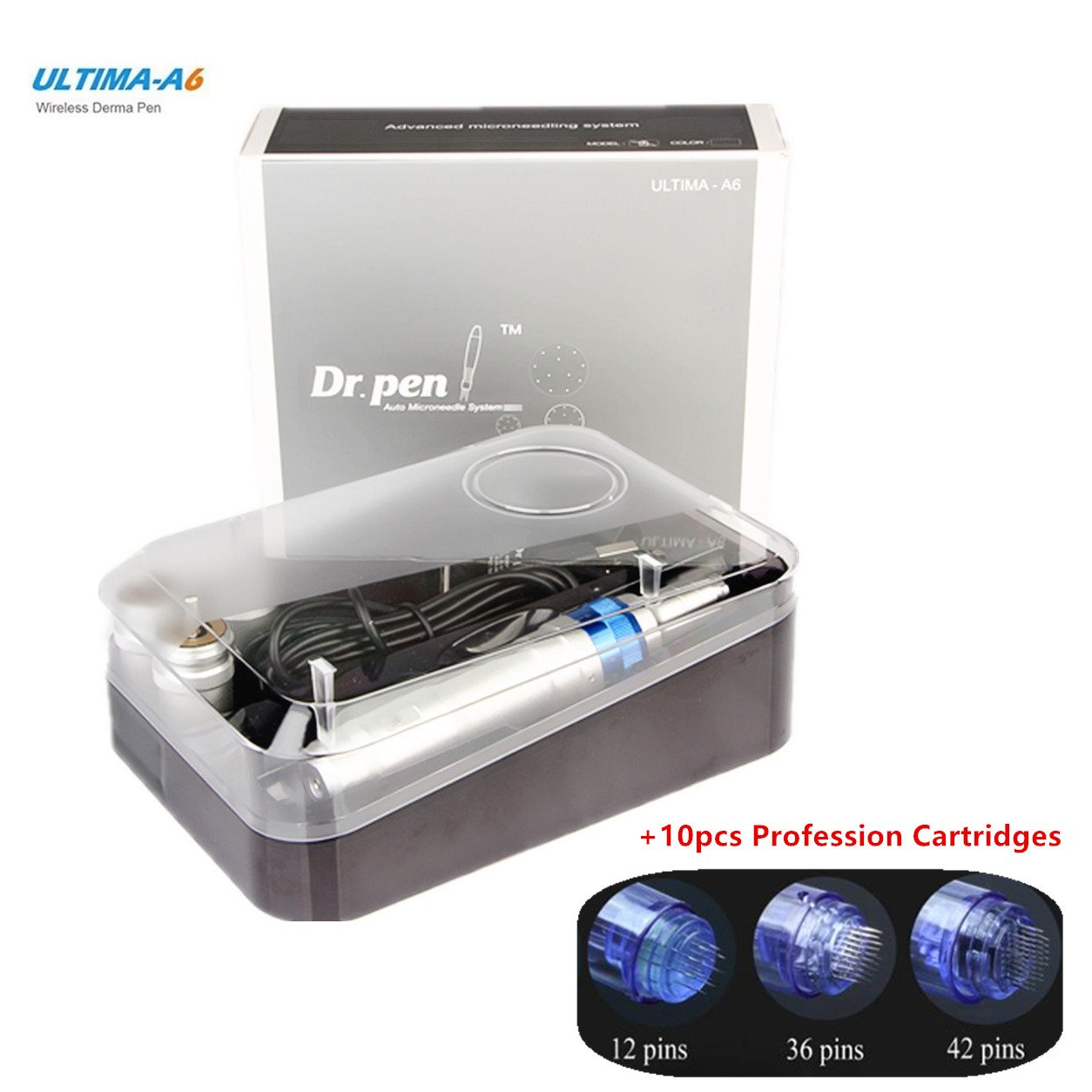 Dr. Pen Ultima A6 Rechargeable Therapy Professional System & Dr Pen A6 Accessories - for Scars, Acne, Wrinkles, Spot Removal, Hydrating, Whitening (2 Batteries+10PCS Cartridges)