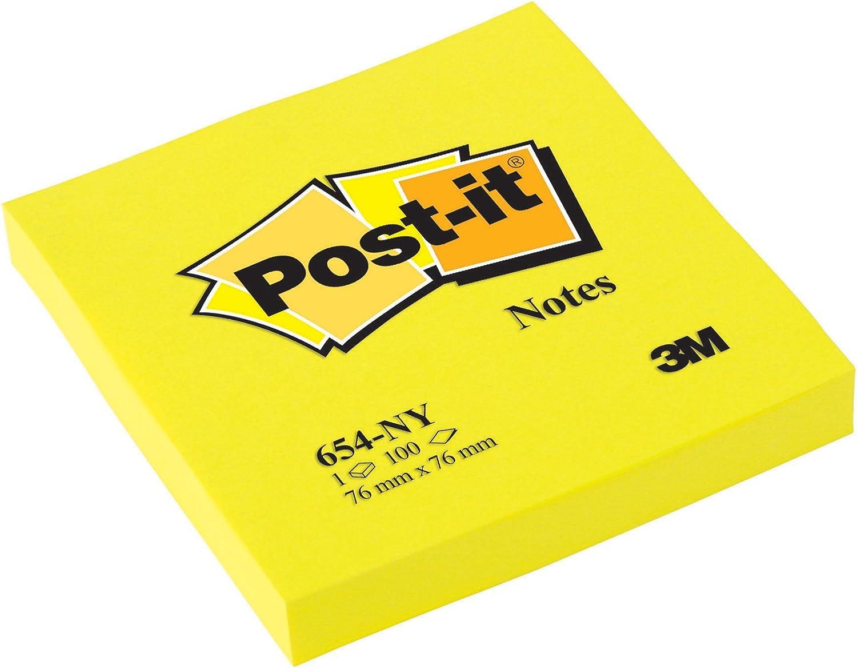 Post-it 654 NY - Pack de 6 blocs de notas, color amarillo neón ...