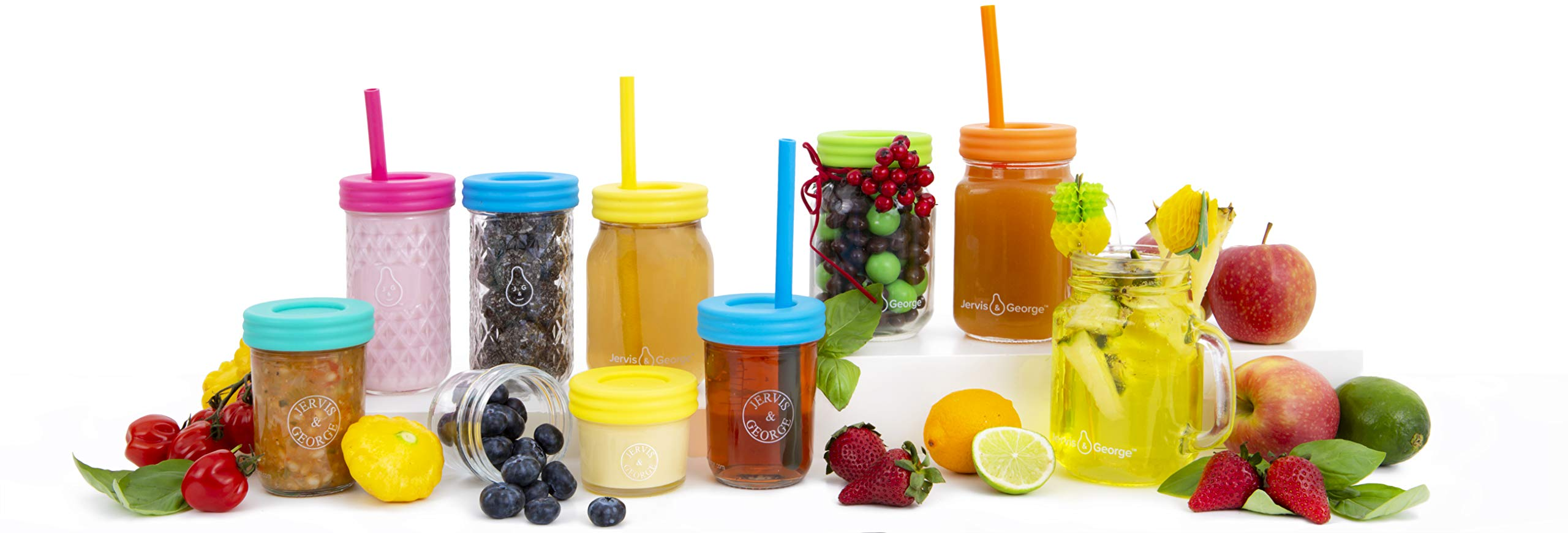 Kids 12oz Glass Mason Jar Drinking Cups with Straw Lids + Leak Proof Regular Lids + Silicone Straws + Cleaning Brush - Spill Proof, Sippy Cups for Toddlers, Kids Drinking Glasses, Food Storage-8 Pack by Jervis & George (Image #6)