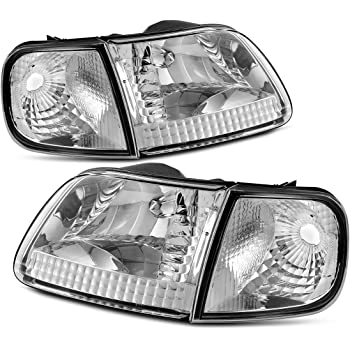 Headlight Assembly for 97-03 Ford F-150/97-02 Ford Expedition Pickup Headlamp Replacement,Chrome Housing Clear Lens,One-Year Warranty (Passenger And Driver ...