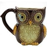Teagas Cute Owl Coffee Mug 12 oz - Brown Cute Owl Morning Coffee Ceramic Mug