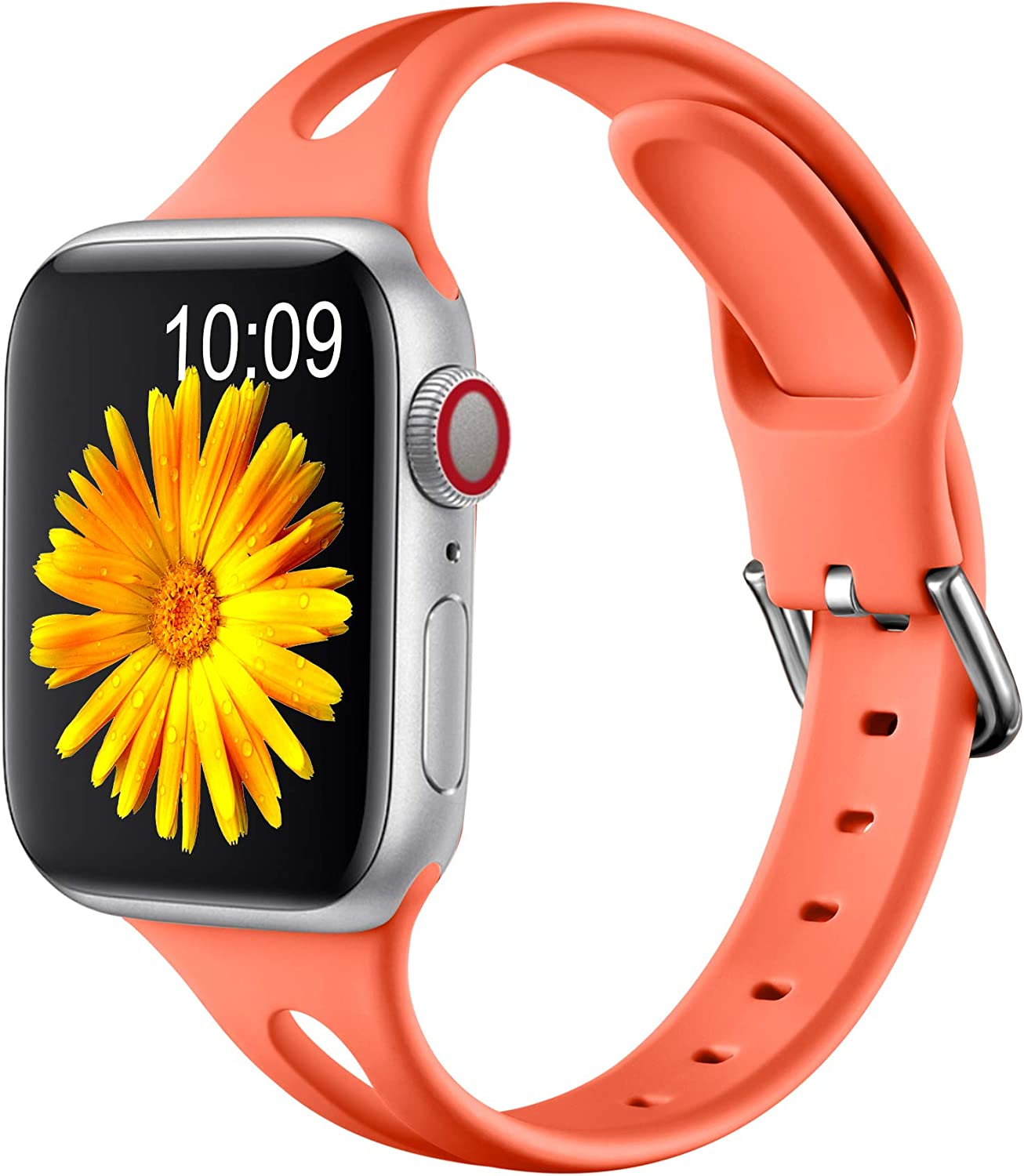 Getino Slim Band Compatible for Apple Watch 40mm 38mm for Women Men, Soft Silicone Stylish Breathable Sport Bands for iWatch SE & Series 6 5 4 3 2 1, Coral