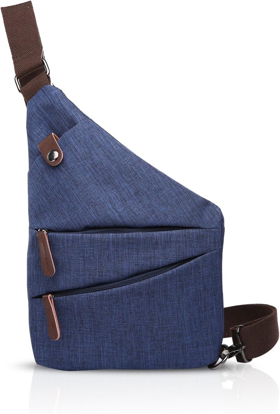 FANDARE New Sling Bag Shoulder Crossbody Bag Sport Party Voyages Portable Sac /à Bandouli/ère Anti-Theft Hommes Imperm/éable Polyester Bleu
