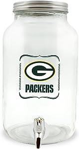 NFL Green Bay Packers Glass Drink Dispenser / Sun Tea Jar, 5 Liter