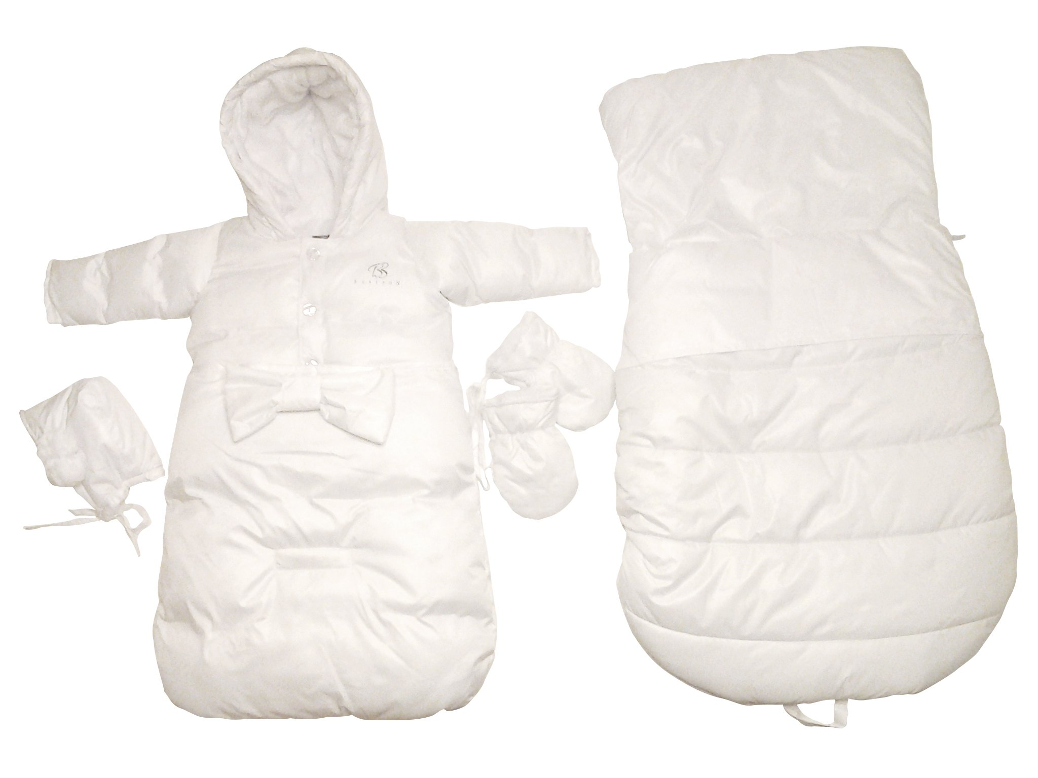 Bebebon Complete Infant Baby Snowsuit Stroller Bunting Footmuff Layette Coat (Bow Snowsuit and Sack, White)