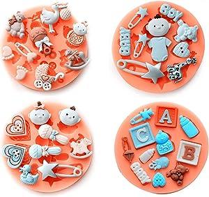 Baby Theme Small Silicone Molds Mini Cake Fondant Molds Cake Decorating Mold,Gummy Sugar Chocolate Candy Cupcake Mold Fondant Mold gumpaste (F484-F485-F489-F490)