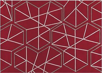 Tapis Graphique Rouge Et Blanc Kinetic 120x180 Amazon Fr Cuisine