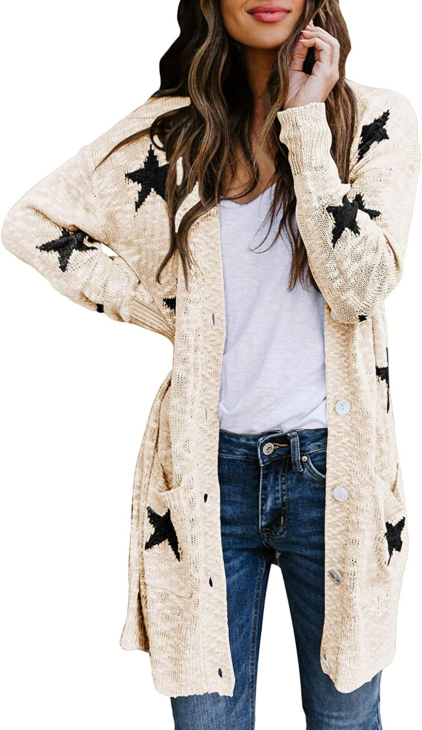 Hapcope Women S Star Print Button Down Knit Open Front Cardigan Sweaters With Pockets At Amazon Women S Clothing Store