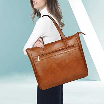 Laptop Tote Bag for Women,EDODAY 15.6 Inch Computer Tote Bags for Work Office,Everyday Carring Business Shoulder Bags Briefcase[L0006/brown]