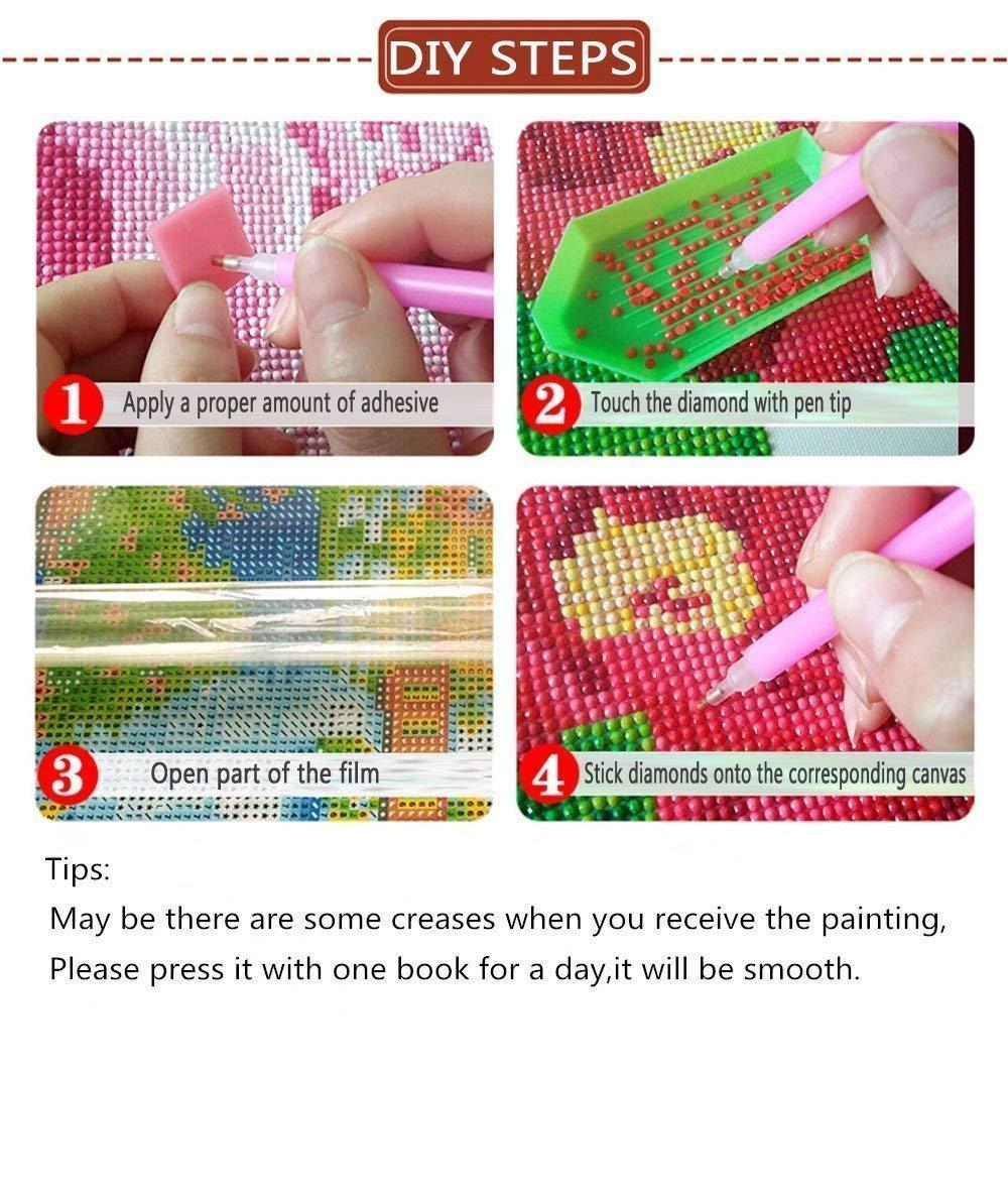 CM 25x25 OneHippo 5D Full Drilled Round Needlework Diy Diamond Painting Cross Stitch Round Diamond Emboridery Colorful Rose