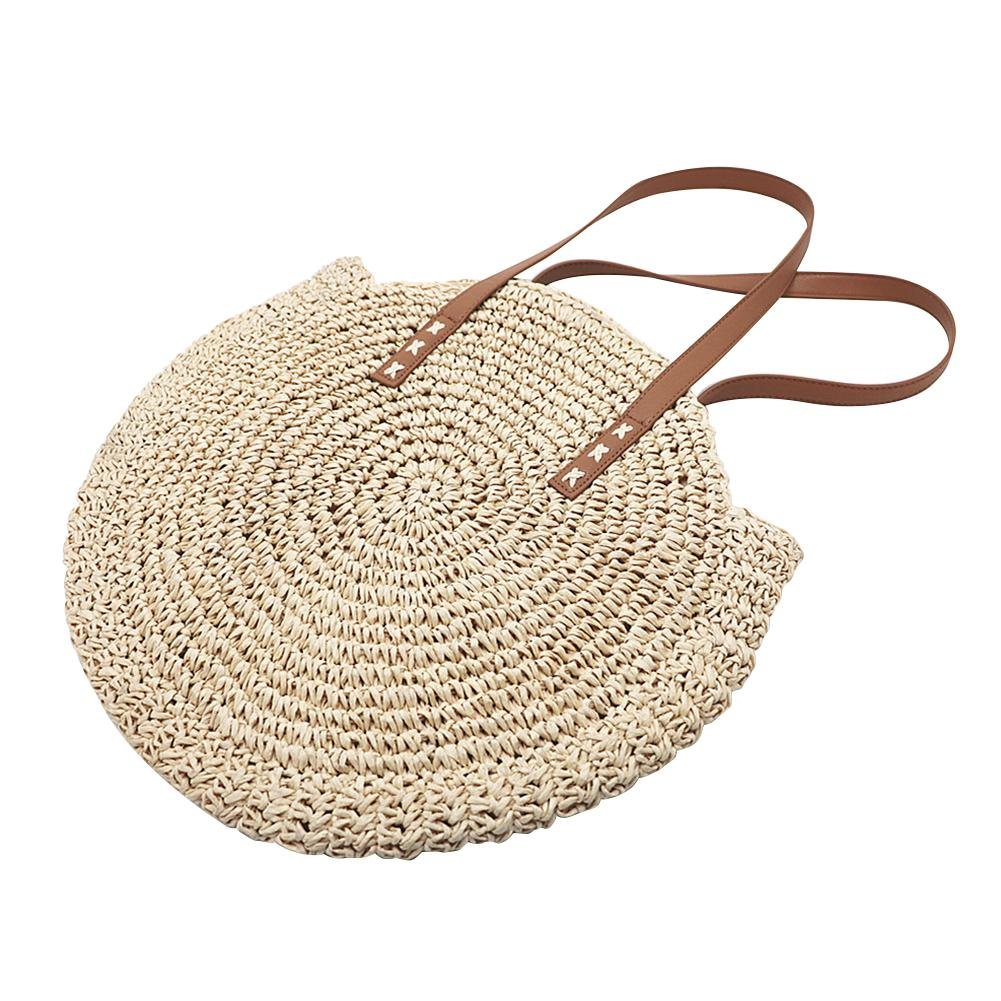 Brand New Outdoor Circular Beach Straw Braided Woven Beach Bag Dual-Purpose Travel Sling Bag Crossbody Bag