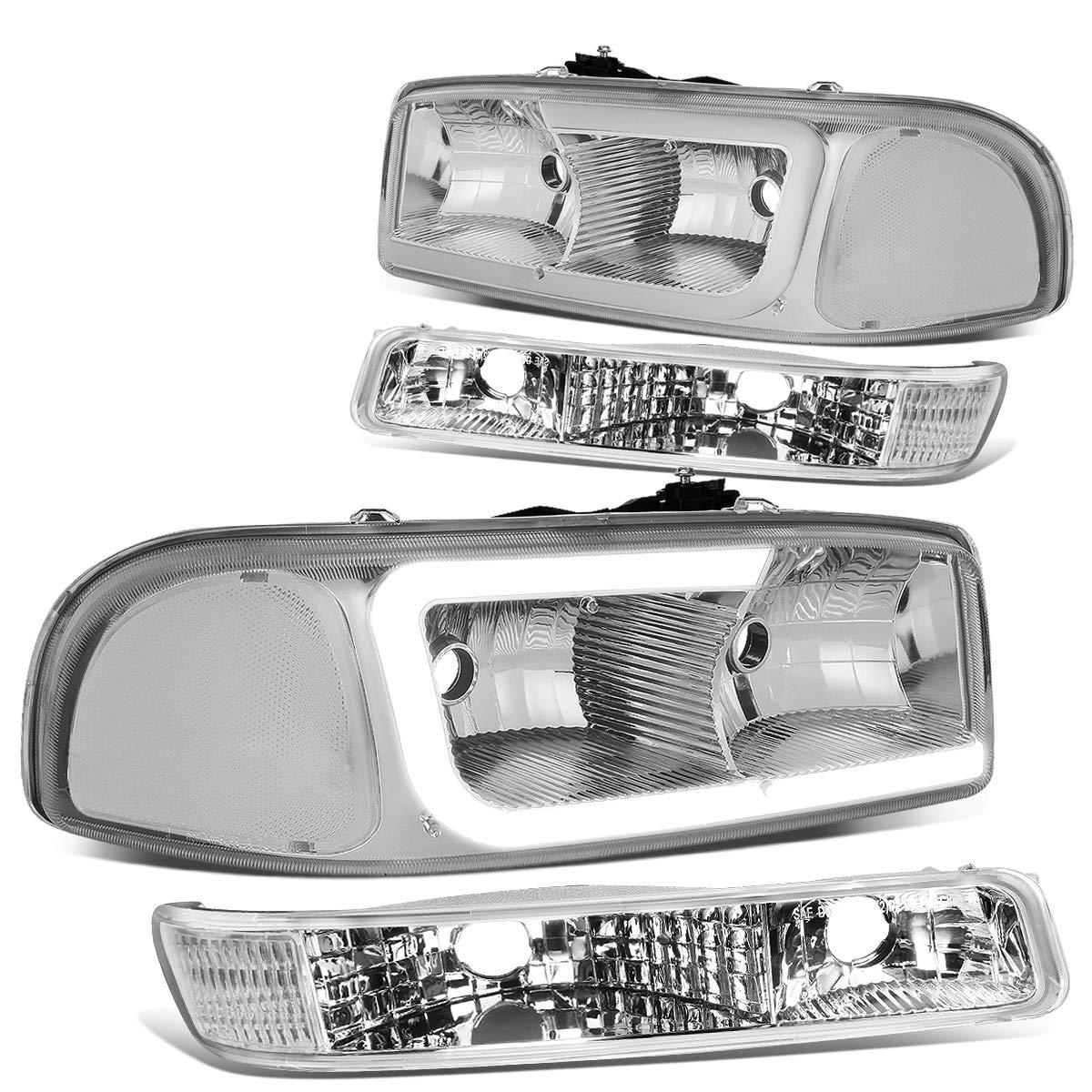 Car & Truck Headlights FOR 99-07 GMC SIERRA/YUKON LED DRL BLACK CLEAR HEADLIGHTS W/BUMPER SIGNAL LAMPS