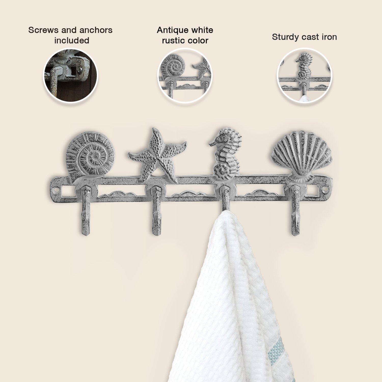 Comfify Vintage Seashell Coat Hook Hanger Rustic Cast Iron
