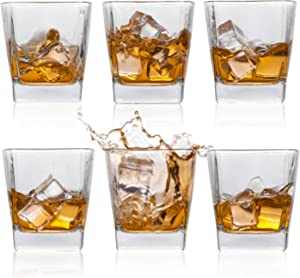 Whiskey Glasses, Bourbon Scotch Rum Glasses Old Fashioned Whiskey Style Glassware for Drinking - 8oz Set of 6 - Perfect for Gifts, Party, Bars, Restaurants and Home