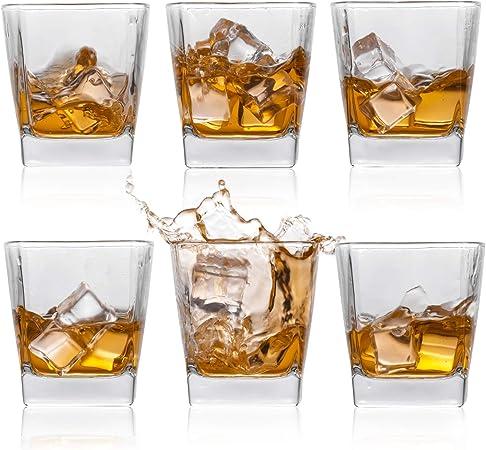 Vasos de whisky, vasos de ron escocés, estilo de whisky antiguo, para beber, juego de 6 unidades, perfecto para regalos, fiestas, bares, restaurantes ...