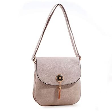 a85bc68f381 MKF Collection Isobel Saddle Double Compartment Crossbody Bag by Mia K.  Farrow (Beige)