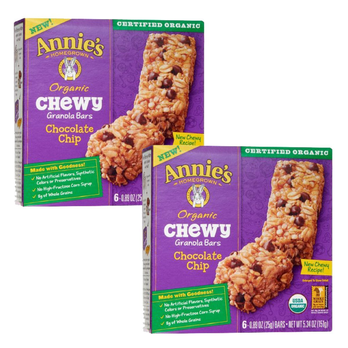 Annie's Organic Chewy Chocolate Chip Granola Bars 6 ct (Pack of 2) by Annie's Homegrown (Image #1)