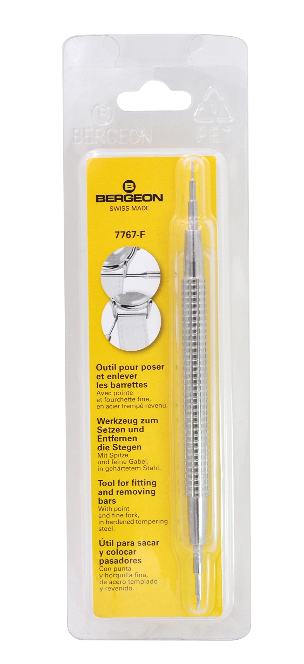 Bergeon 7767-F Watch Spring Bar Tool - Long Stainless Steel Handle with Replaceable Screw In Fine Tool End