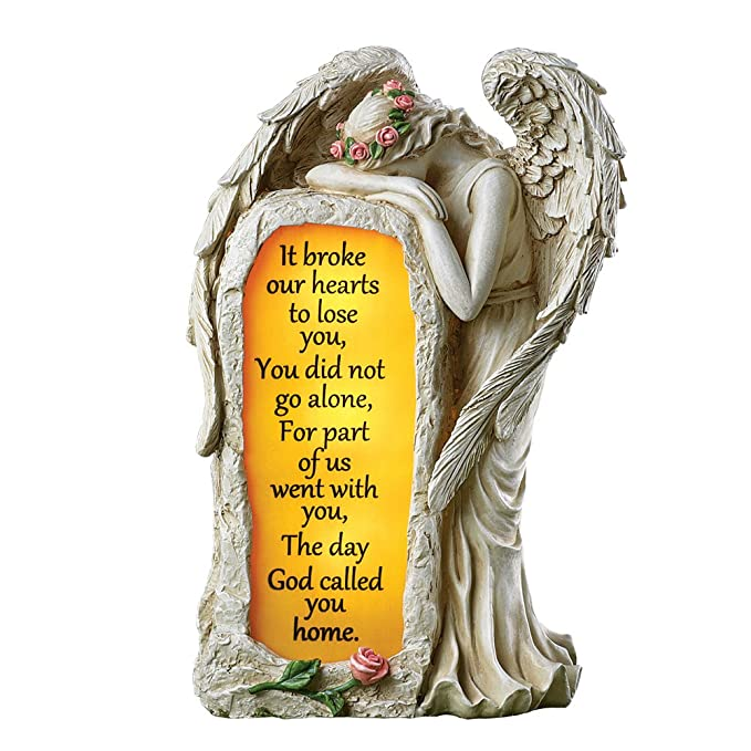 Collections Etc Crying Angel Solar Lighted Memorial Garden Stone Figurine Statue with Consoling Verse