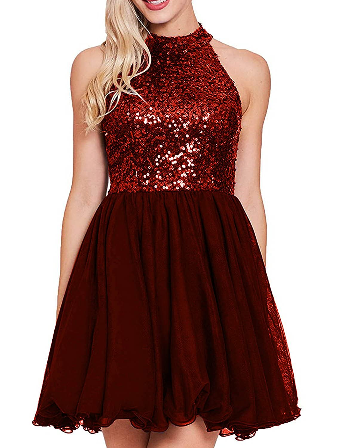 Burgundy YIRENWANSHA 2018 Sexy Halter Homecoming Dress Shiny Sequined Empire Waist Short Party Gown YW47