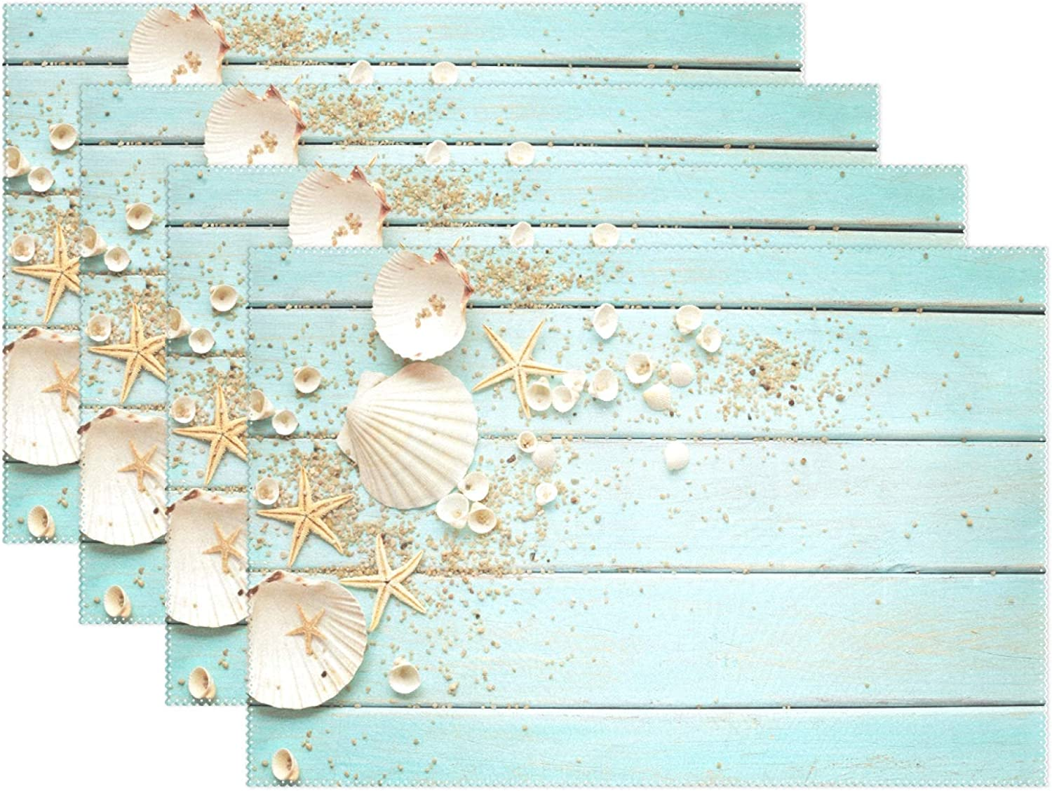 Wamika Sea Shell Beach Placemat Set of 4 Table Mat, Summer Starfish Board Table Mats Placemats 12x18 in for Dining Home Kitchen Decor Indoor