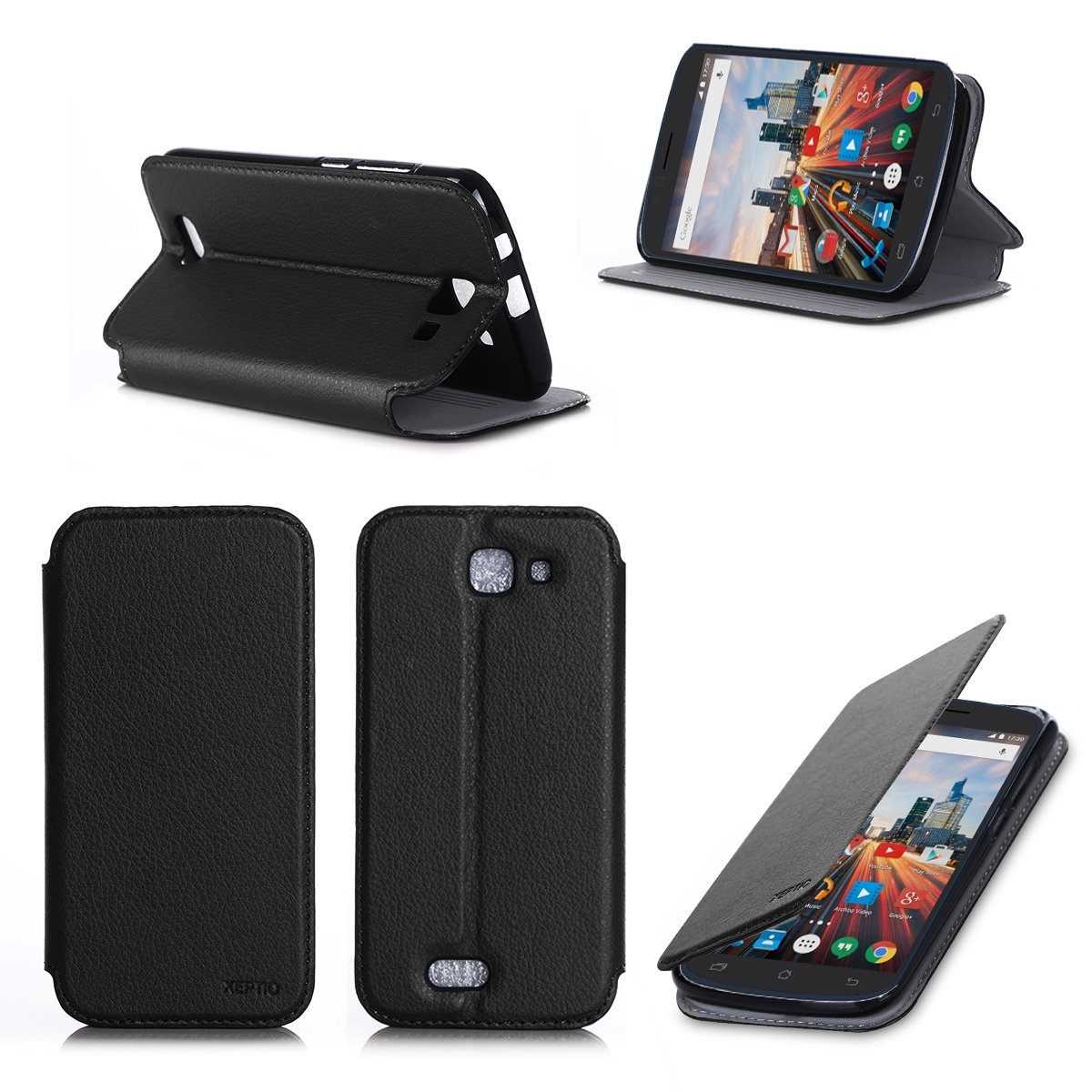 1d8fb0c0e Archos 50 Helium 4G Black Leather Case With Stand Ultra: Amazon.co ...