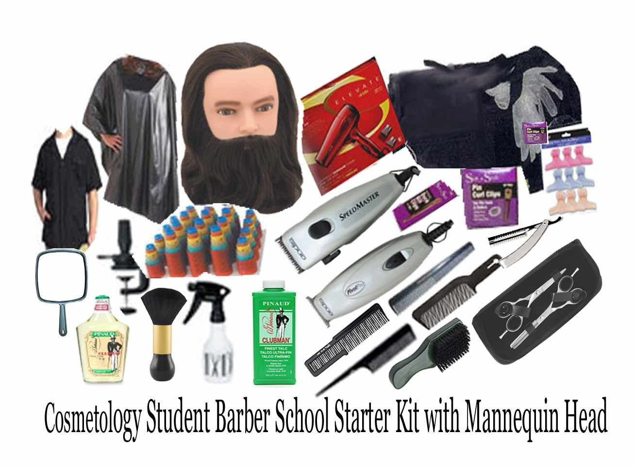 Cosmetology Student Barber School Starter Kit w/ Mannequin Head