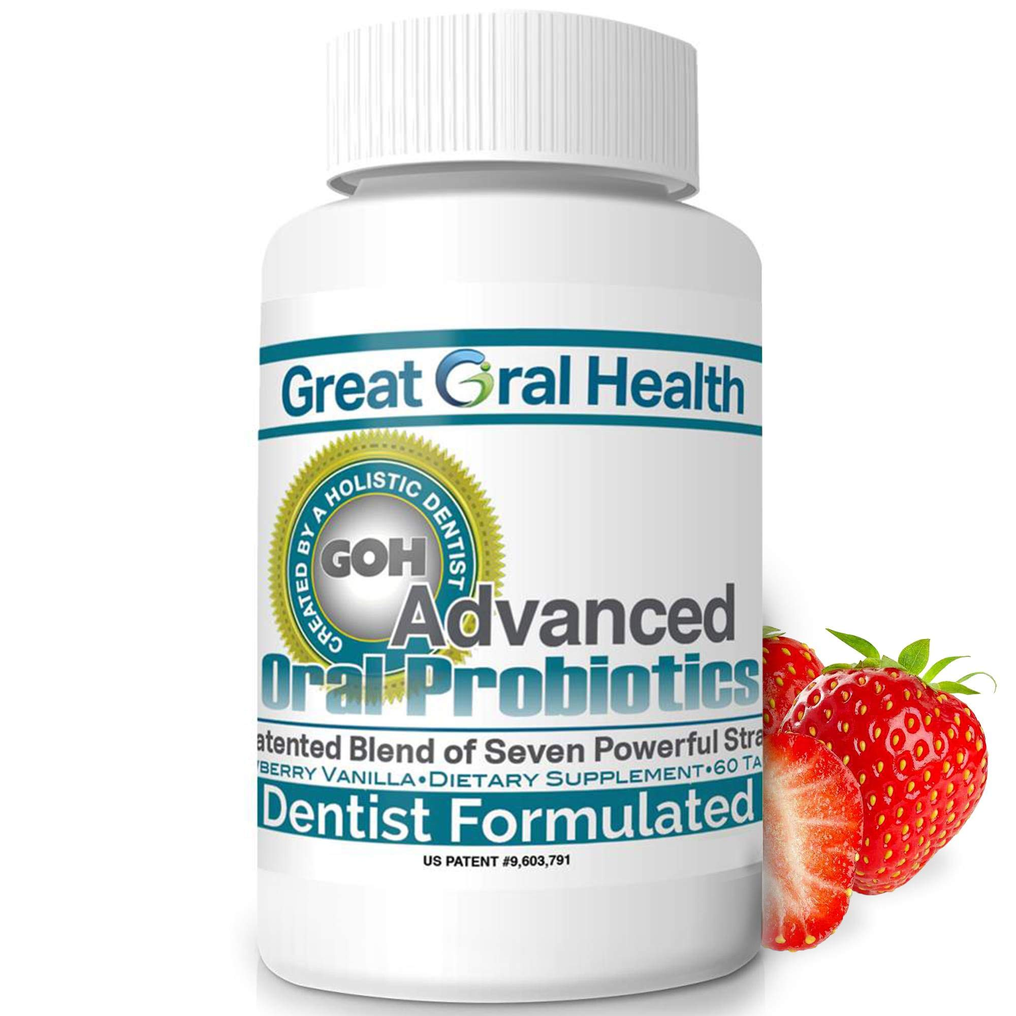 Chewable Oral Probiotics for Mouth — Oral Probiotic — Gum Disease Gingivitis & Bad Breath Treatment Supplement w/BLIS K12 M18 — Dentist Formulated 60 Lozenge Strawberry Vanilla eBook Included