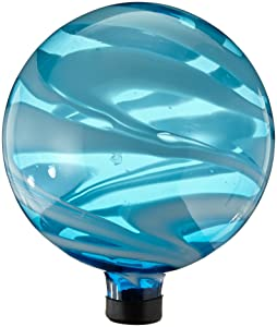 Gardener's Select A14BFG05 Glass Gazing Globe, Blue and White Swirl, 10""