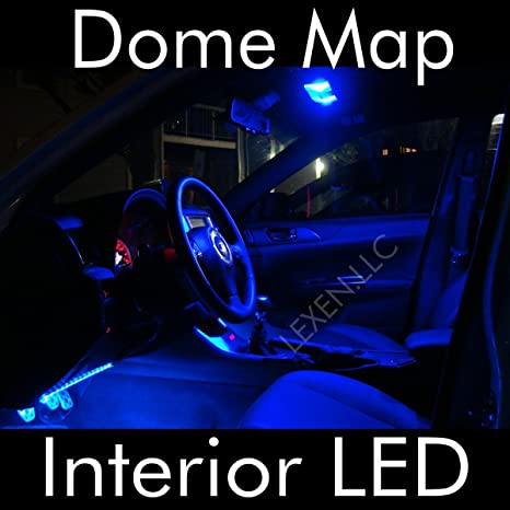 2 bombillas LED azules para techo interior de 9 SMD con panel de círculos, lámpara
