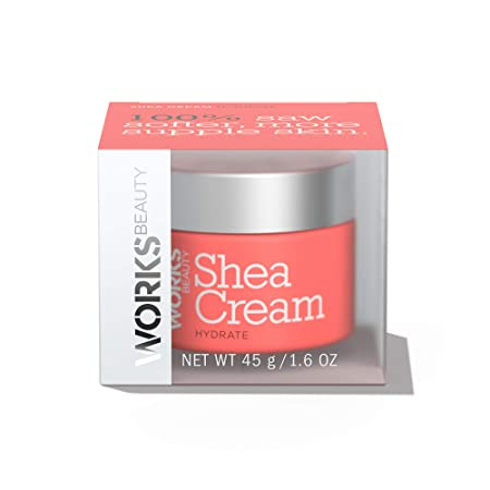 Works Beauty Shea Butter Moisturizing Face Cream, Ultra Hydrating Rich Daily Facial Lotion Draws in Moisture, Long Lasting Hydration, for Normal to Dry Skin 1.6 oz
