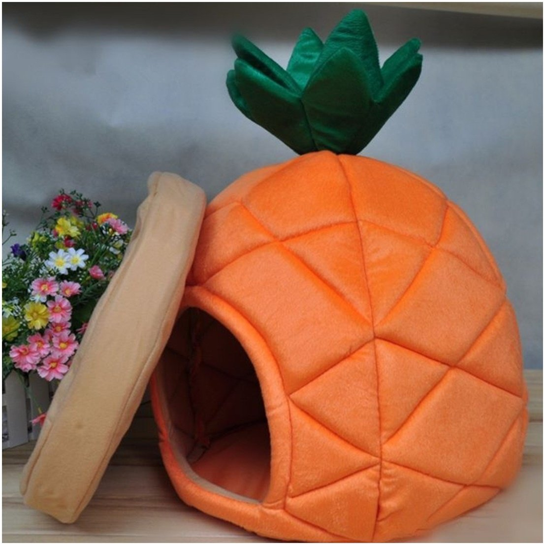 1Pc Illustrious Popular Pet Bed Size L Puppy Tent Dog House Kennel Furniture Style Pineapple