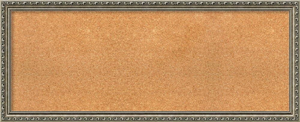 Amanti Art Choose Your Custom Size, Parisian Silver Wood Framed Cork Board 41 x 17