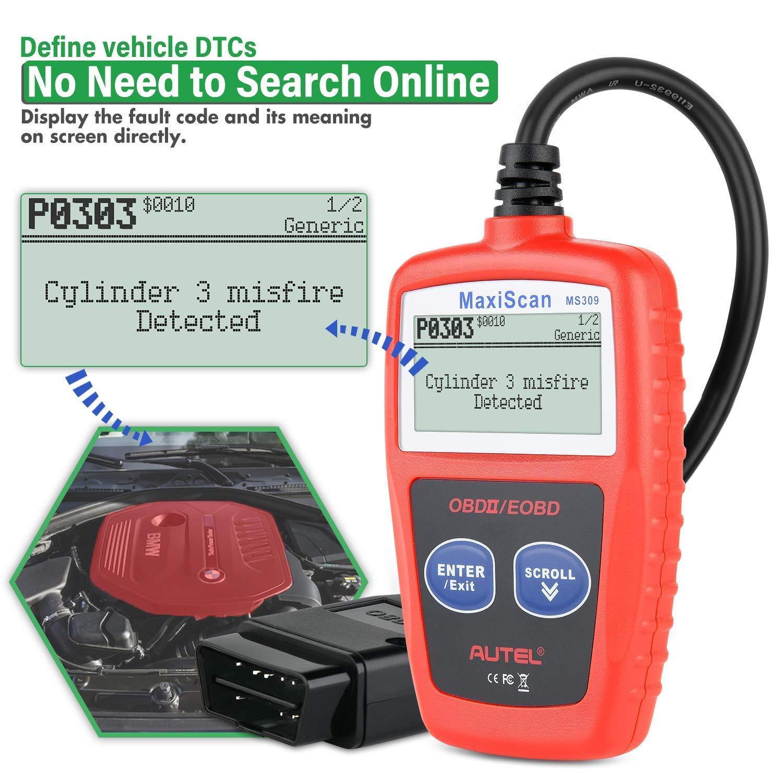 Version Anglaise Autel MaxiScan MS309 OBD2 Diagnostic de Voiture Outil de Diagnostic de v/éhicule Moteur Lecteur de Code d/éfaut EOBD Reader