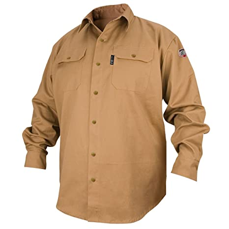 0a2657cb5e6b REVCO BLACK STALLION FR FLAME RESISTANT COTTON WORK SHIRT - FS7-KHK LARGE - Protective  Work And Lab Clothing - Amazon.com