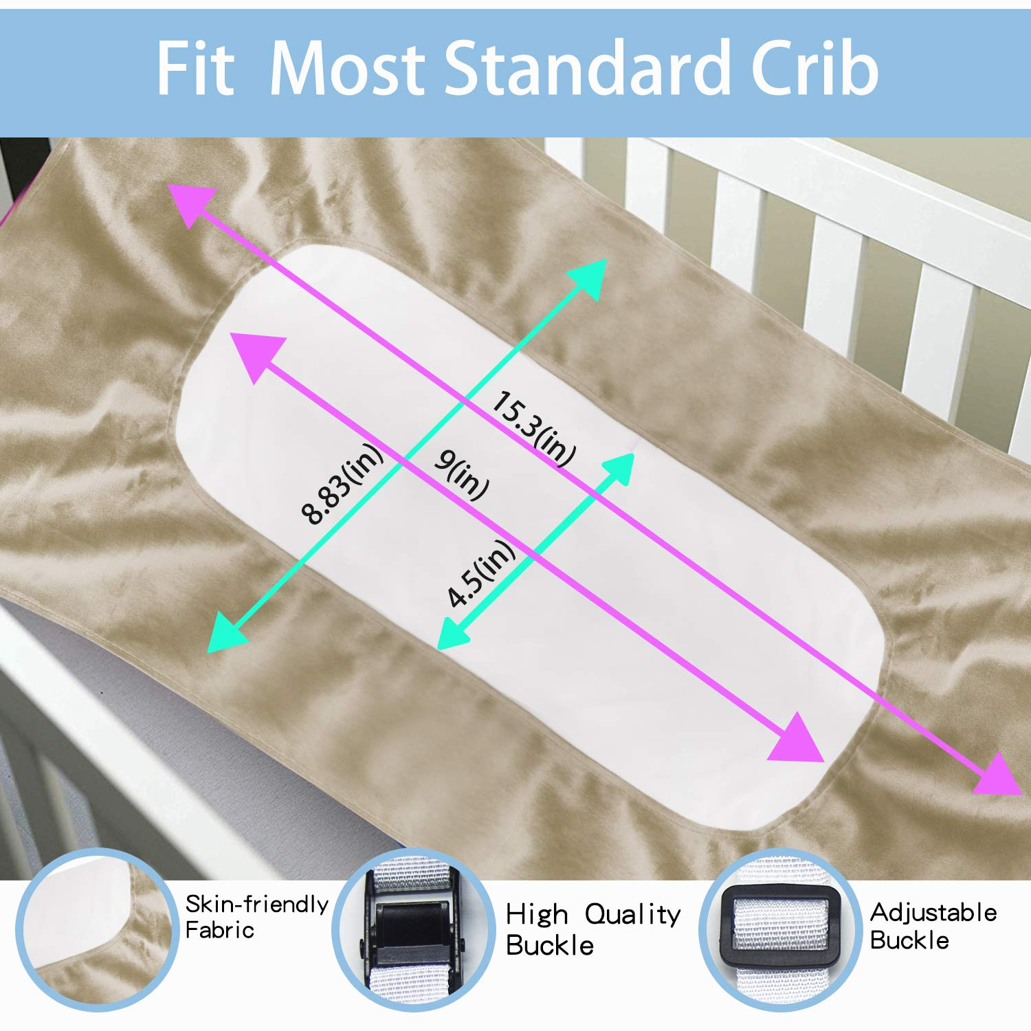 Baby Hammock for Crib New Upgrade, Mimics Womb Soft and Comfortable Material with Strong Adjustable Straps Newborn Hammock (Light Brown) by Jsbeuith (Image #3)
