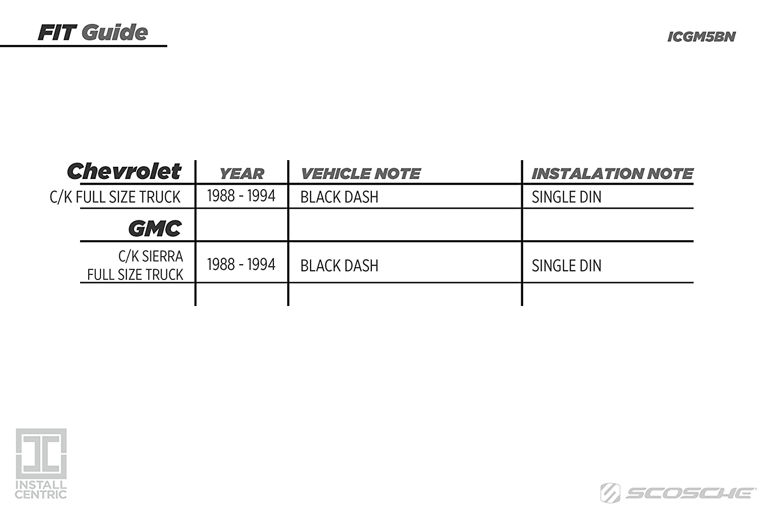 Install Centric ICGM5BN GMC//Chevrolet Full Size 1988-94 Truck BLACK Complete Installation Solution for Car Stereos SCOSCHE 0107ICGM5BN