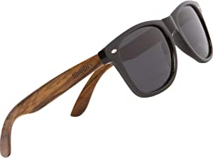 Wood Sunglasses with Polarized Lens in Bamboo Tube Packaging Woodies
