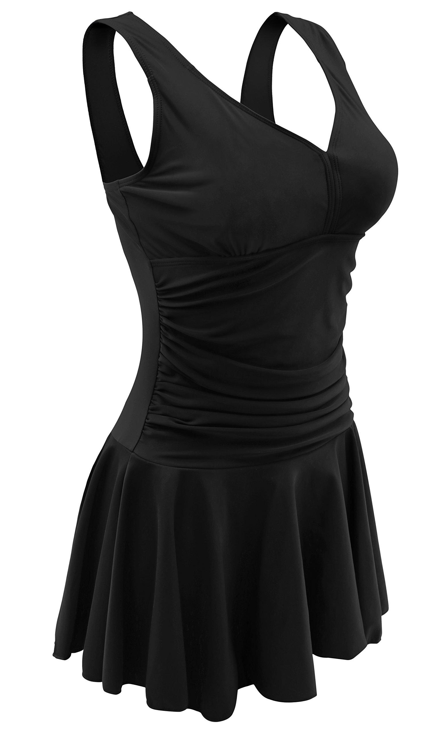 Women'S Swimsuits Plus Size One Piece Swim Dress Swimwear(Xl,Black)