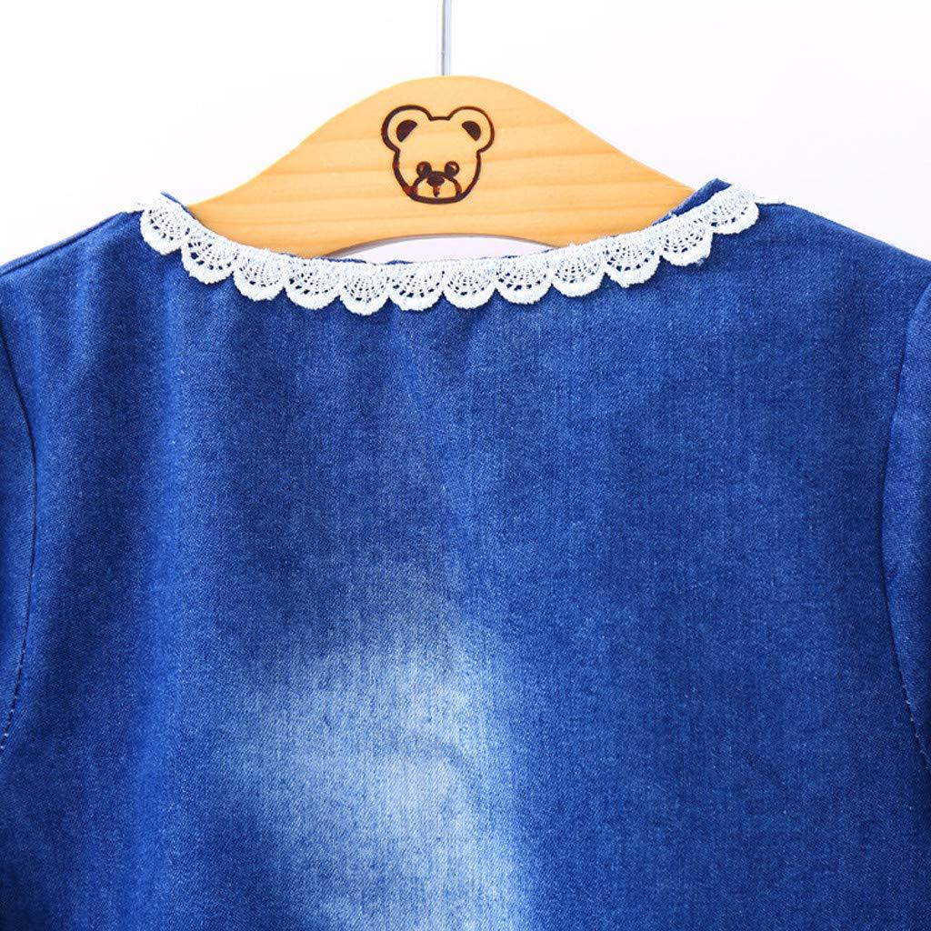 Jushye Toddler Kids Girl Denim Dress Long Sleeve Bow Lace Princess T Shirt Tops Clothes