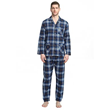 Mens Pajamas Set, Soft Lightweight Flannel Pjs with Button Down Top