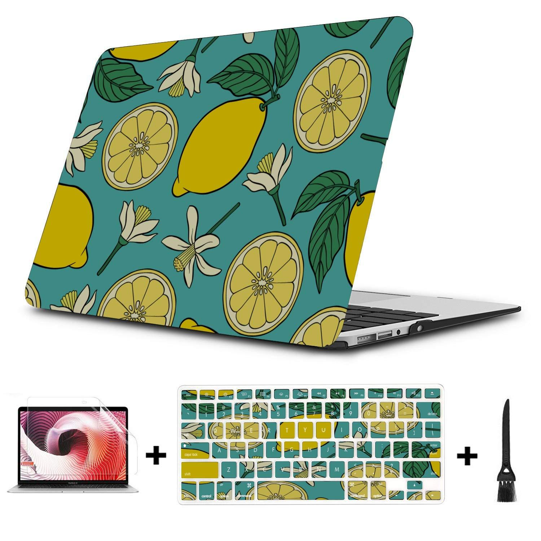 MacBook Case Summer Fashion Flower Fruit Lemon Plastic Hard Shell Compatible Mac Air 11 Pro 13 15 MacBook Air Laptop Cover Protection for MacBook 2016-2019 Version
