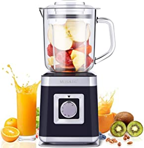 Smoothie Blender, MOSAIC Smoothie Maker Persnoal Juice Blender with 28 oz (0.8L) Glass Container, 6 Durable Stainless Steel Blades and 5 Speed & Pulse Settings for Fruit , Vegetable and Juice (How to Start Machine, Watch Video)
