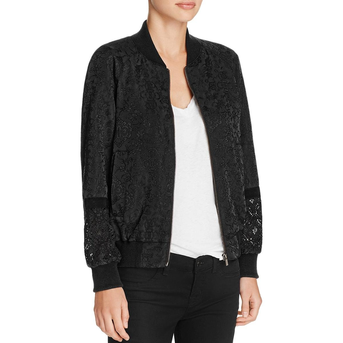French Connection Womens Embroidered Lace Inset Bomber Jacket Black 10