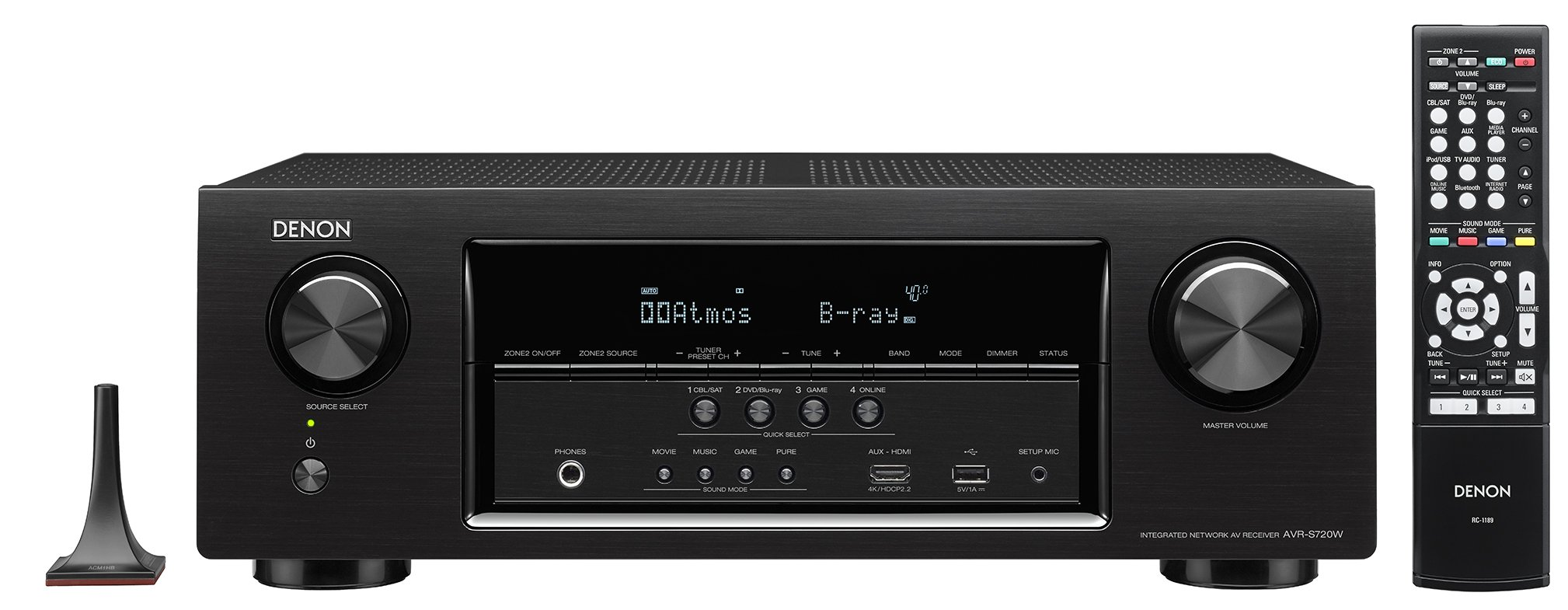 Denon AVR-S720W 7.2 Channel Full 4K Ultra HD AV Receiver with Built-In Wi-Fi and Bluetooth by Denon