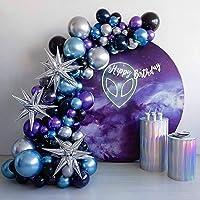 Space Birthday Decorations Supplies Metallic Chrome Blue Purple Silver Balloon Arch Garland Kit-125pcs Blue Purple…