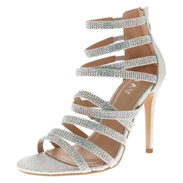 Viva Mujer Diamante Medio Talón Correa Múltiple Boda Fiesta Noche Sandalias Zapatos