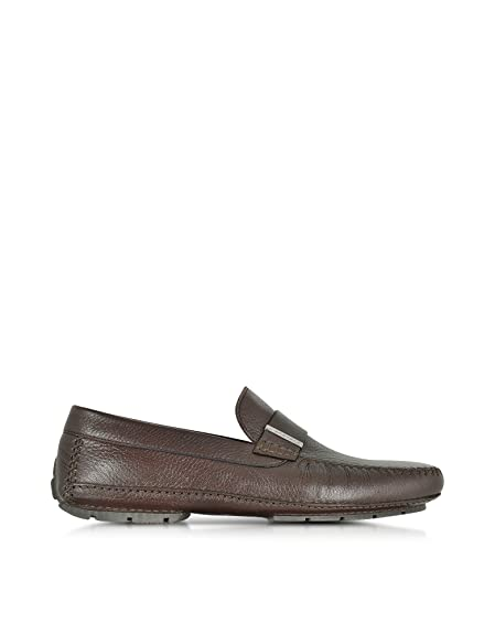 Men's 41426SHMIAMIDKBROWN Brown Leather Loafers