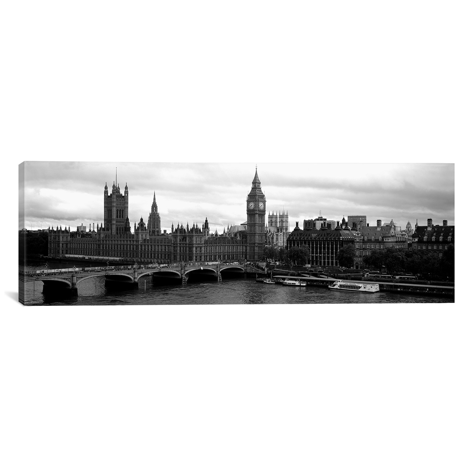 iCanvasART Westminster Bridge Across a River London, England by Panoramic Images Canvas Art Print, 48 by 16-Inch by iCanvasART